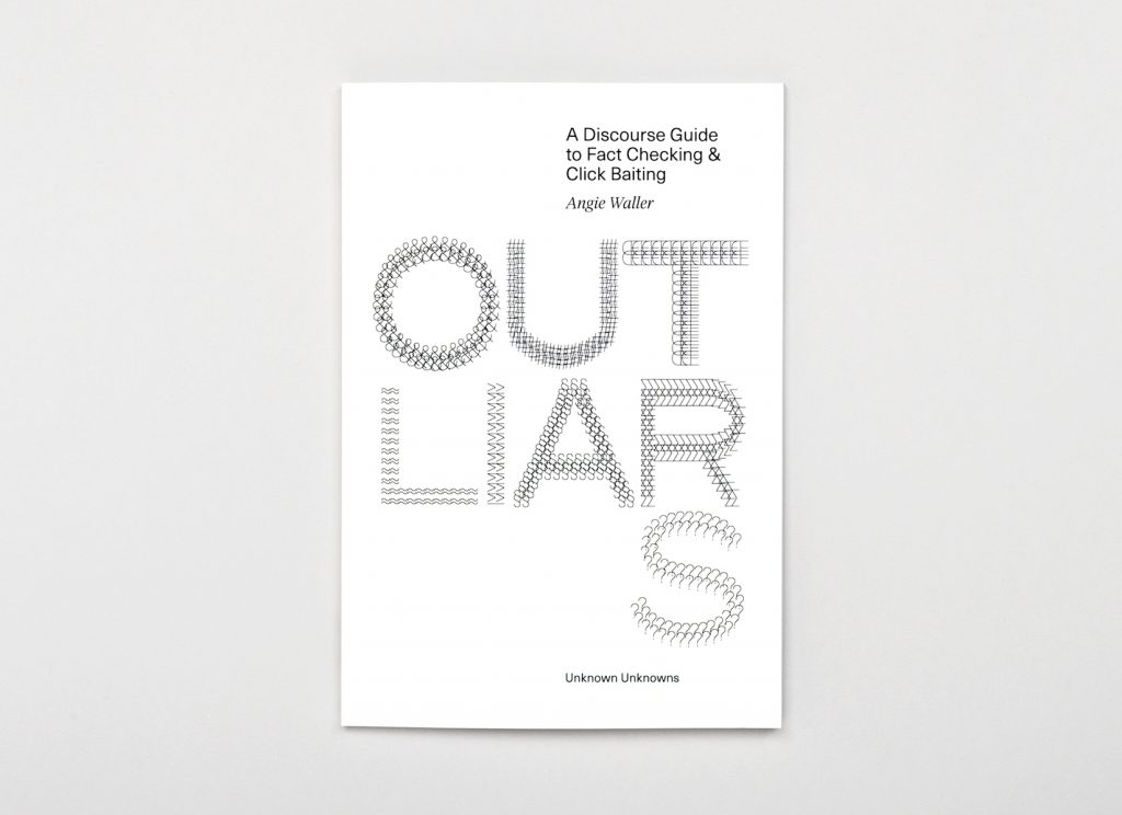 Book cover for Outliars by Angie Waller. Features the title in ascii characters on white background.