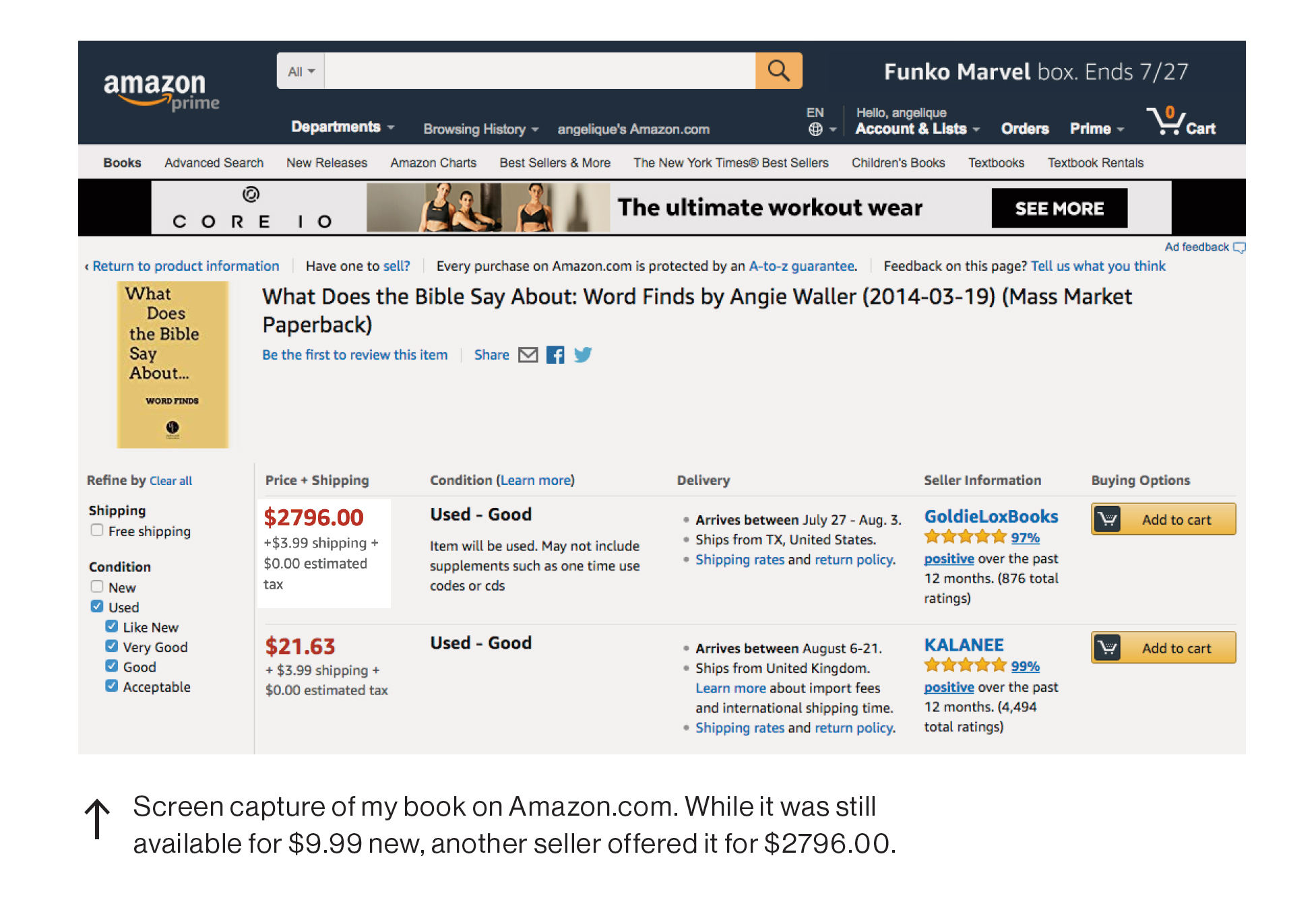 Screen capture of my book on Amazon.com marked up to $2,796 while it is still available from me for $9.99