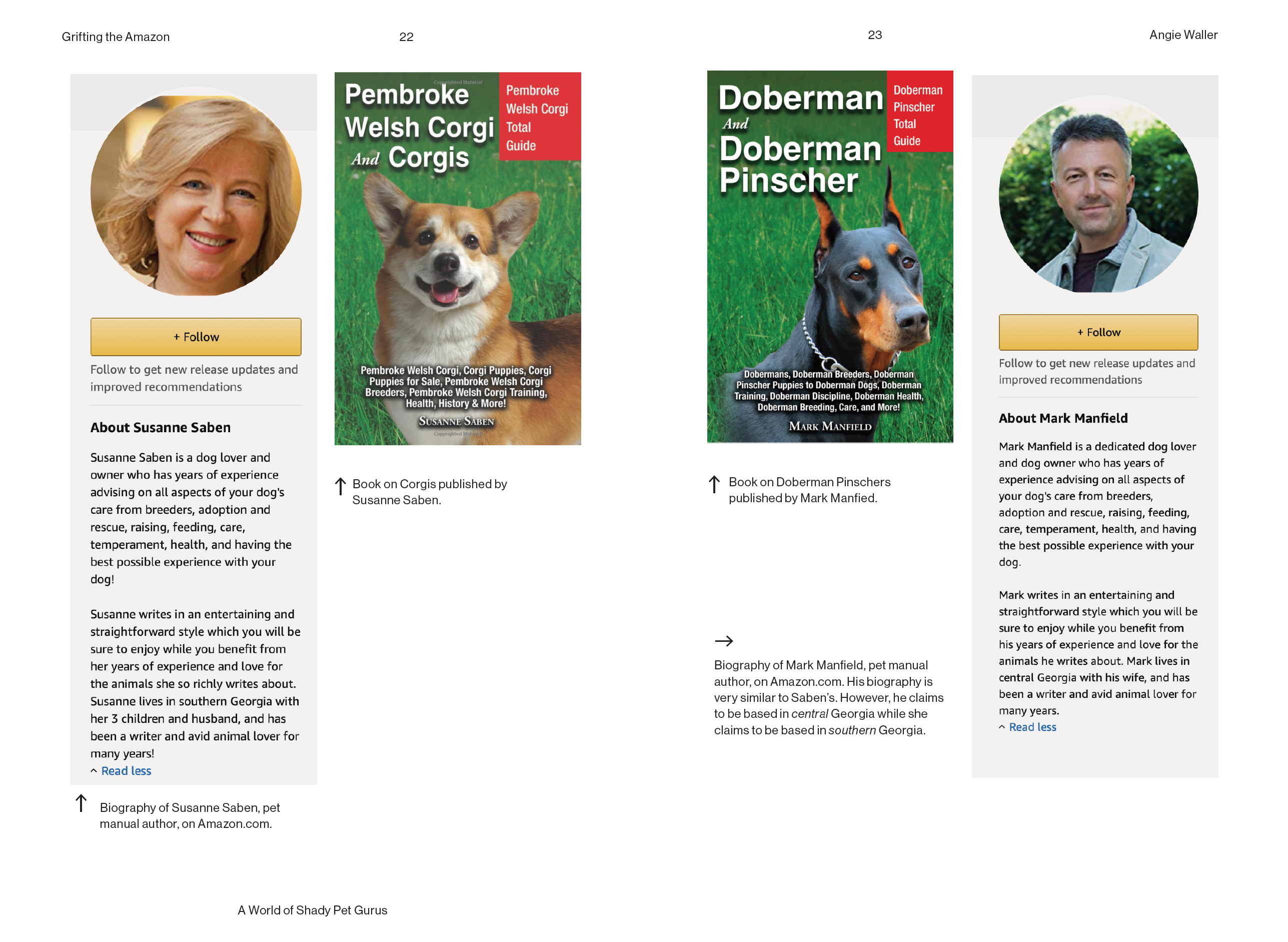 Two pet books with authors who have the same bio with the exception of a few words